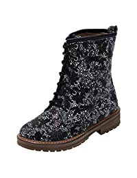JESPER Women National Style Printing Logger Boots Square Heel Lace-Up Round Toe Boots Shoes