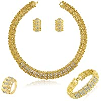 Moochi 18K Gold Plated Shinning Wide Necklace Crystal Jewelry Sets Necklace Earrings Bracelet Ring