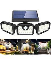 Boomersun Lampy solarne do użytku na zewnątrz, 3 regulowane głowice, 74 LED, 2400 mAh, solarne lampy z czujnikiem ruchu, IP65, wodoszczelne, szerokokątne 270°, do użytku na zewnątrz, w ogrodzie (1 sztuka)