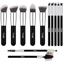Premium Makeup Brush Set, 12pcs Cosmetic Brushes for Foundation Blending Blush Eyebrow Concealer Eye Shadow, Metal Eyelash Comb Included, Cruelty Free Synthetic Fiber Bristles Silver Black