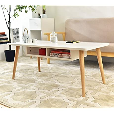 Laputa Simply Modern Tea Table For Living Room White Tea Table With Storage Cabinet Made From Oak Wood Easy To Set Up Large Rectangular Tea Table White