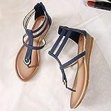 Women Wedge Thong Sandals, NDGDA Metal Rome Solid
