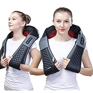 Shiatsu Neck Back shoulder Massager - Electric Neck and Back Massager with Heat, Deep Tissue 3D Kneading Massage Pillow for Shoulder, Leg, Body Muscle Pain Relief, Home, Office, and Car Use - With Bag
