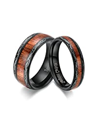 5mm/8mm Wedding Bands Domed Koa Wood Tungsten Carbide Couple Rings Black Color Comfort Fit