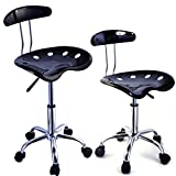 Ethan Allen Bar Stools 2PC Adjustable Bar Stools ABS Tractor Seat Swivel Chrome Home Office Kitchen Breakfast Black #654