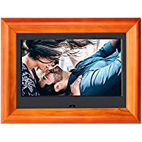 Digital Picture Frame SZSUPER 7 inch Digital Photo Frame with Widescreen LCD Calendar/Clock Muti- Function Video Player with Remote Control Wood Electric Picture Frame (Black)
