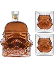 AUTIORE Transparent Creative Whiskey Decanter, Whiskey Carafe, for Whiskey, Vodka, and Wine, 1*Stormtrooper Bottle(750ML) & Stormtrooper 2 Glasses(8.5 x 9.5 x 9 cm)