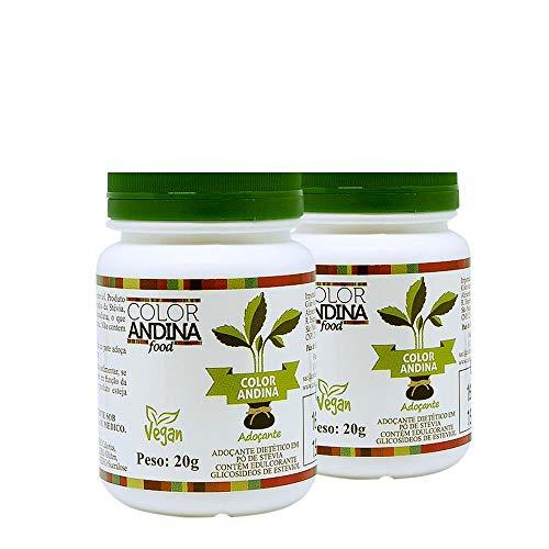 Adoçante dietético Stévia Color Andina Food, 2 potes de 20g
