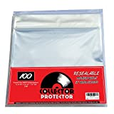 """Premium Record Sleeves For Your 12"""" Record Covers. (100) Crystal Clear No Haze Outer Record Sleeves With Resealable Flap For Complete Protection Of Your Album Covers"""