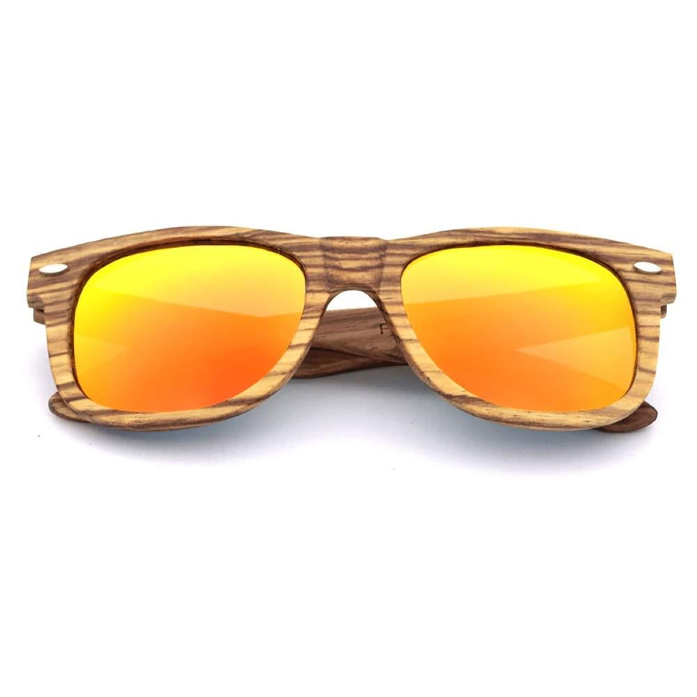 orange Kirabon Women's Vintage Bamboo Driving Sunglasses for Men, Polarized, UV Predection (color   bluee)