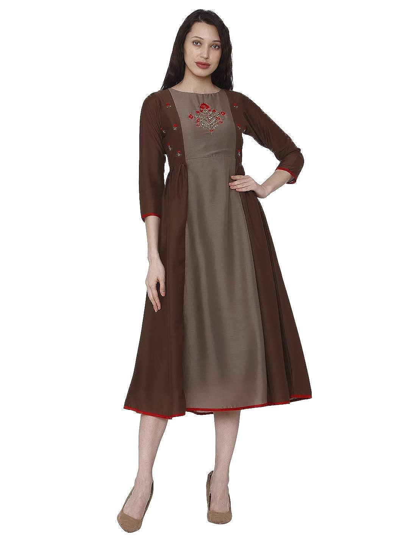 Brown100196 Raisin Womens Kurta Indian Kurtis for Women Casual Tunic Kurti Tops Long Dress