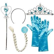 Girls' Princess Elsa Tiara Braid Wand Blue Gloves Set of 4
