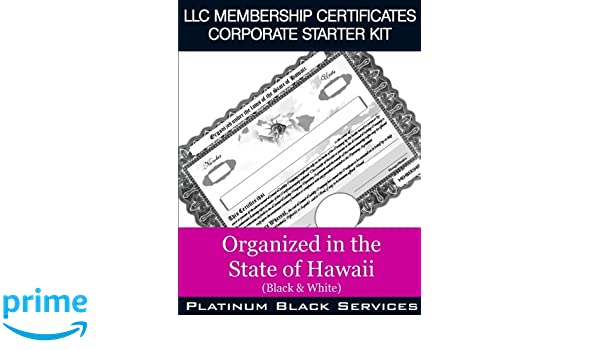 LLC Membership Certificates Corporate Starter Kit: Organized in the State of Wisconsin (Black & White)