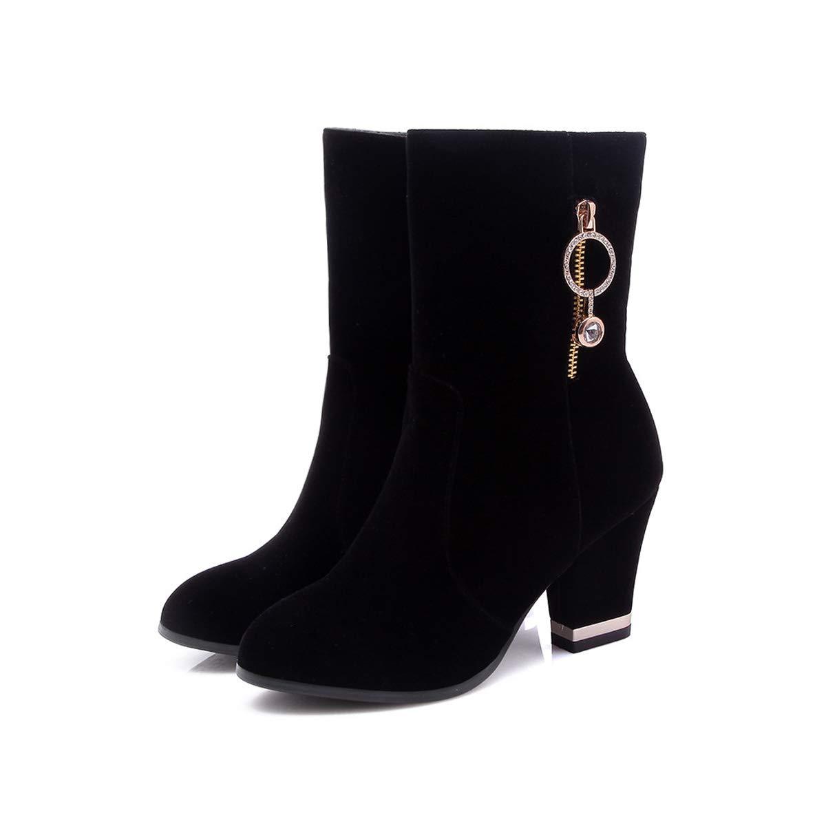 DANDANJIE damen schuhe Chunky Heel Mid-Calf Stiefel Ladies Fall Winter Warm Ankle Stiefel Schuhe schwarz