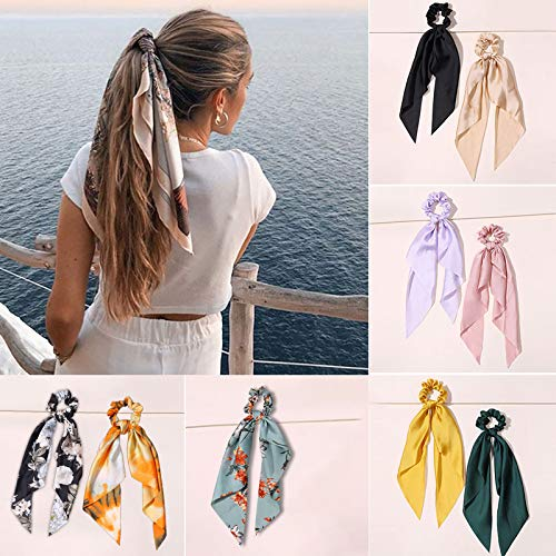 YUGHGH Hair Scrunchies, Hair Scarf with Flower Pattern for Hair Bands Floral Hair Scarf Scrunchy Ties Elastic Striped Bow Womens Girls Ponytail Holder (Blue)