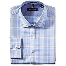 Tommy Hilfiger mens Non Iron Slim Fit Large Plaid Spread Collar Dress Shirt