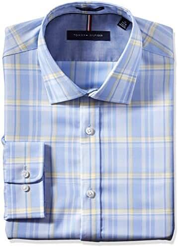 Tommy Hilfiger Men's Non Iron Slim Fit Large Plaid Spread Collar Dress Shirt