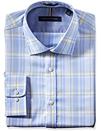 Men's Non Iron Slim Fit Large Plaid Spread Collar Dress...