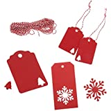 Bymlt-100 Pack Paper Tags Kraft Gift Tags Snowflake Shape and Christmas tree Shape Hang Labels with 30 Meters Natural Jute Twine for DIY Arts and Crafts, Wedding Christmas and Holiday, (Red)