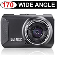 Dash Cam – 170 Degree Ultra Wide Angle Captures Beyond the Human Eye – 1080p & Wide Dynamic Range Produce Crystal Clear HD Video – Simply Turn On Car to Start Recording – Installs in Minutes