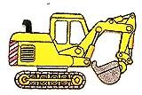 Nipitshop Patches Yellow Backhoe Excavator Tractor