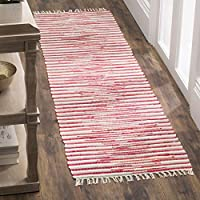 Safavieh Rag Rug Collection RAR129R Hand-Woven Red and Multi Flatweave Cotton Runner (23 x 12)