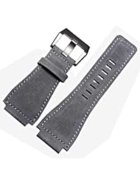 Gray Leather Watch Strap 24mm Suitable BR01 BR03 Bell&Ross MILITARY Band Buckle