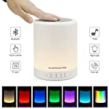Bluetooth Music Speaker Smart Touch Night Light Color Changing, Portable Multifunctional Speaker + Dimmable Warm White, Muisc Player / Hands-free with TF Card and USB Charging