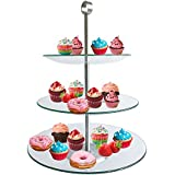 TJB 3 Tier Serving Tray Platters, Appetizer or Dessert Cupcakes And Cake Stand - Centerpiece For Weddings, Tea Party, Holiday Dinners, or Birthday Parties (Round 3 Tier)