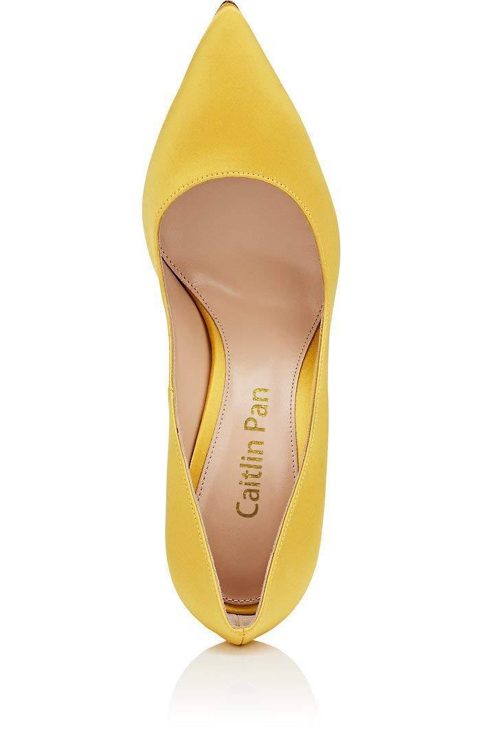Caitlin Pan Damen Klassische Diamant High Heels Satin Spitzschuh Diamant Klassische Stilettos Slip on Pumps Yellow-satin-10cm/ROT B0tt0m fb8586