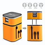 MOCREO® Detachable Universal World Travel Charger All-in-one UK/EU/US/AUS Plugs Safety World Travel Adapter 3200mA Dual USB Ports World Travel Charger (US Plug USB Wall Charger + Universal Travel Charger) (Yellow)