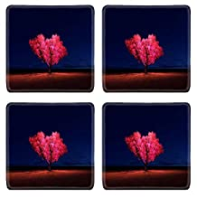 MSD Square Coasters silhouette tree in meadow with night sky Image 33423888 by MSD Customized Tablemats Stain Resistance Collector Kit Kitchen Table Top DeskDrink Customized Stain Resistance Collector