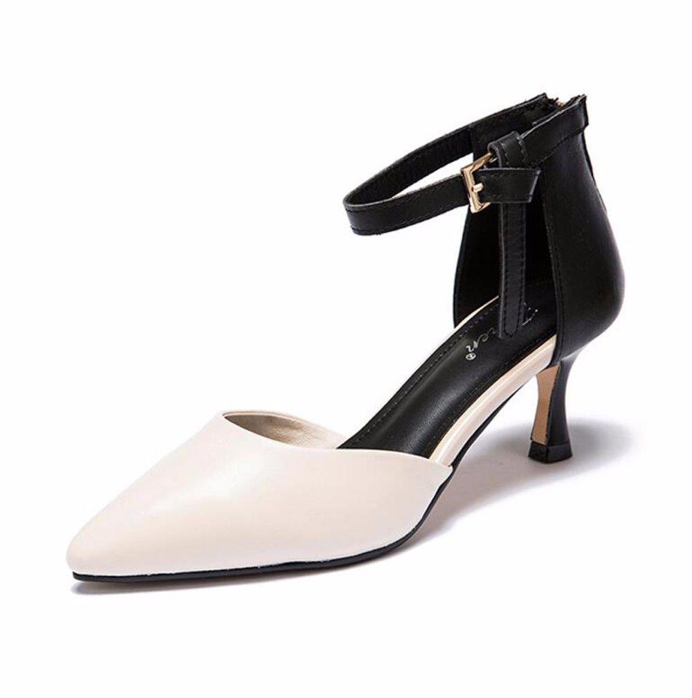 Beige HBDLH Couleur des Sandales des Chaussures du Printemps Printemps Et De L'été Bien Au Pied Seul Les Chaussures Baotou Petite Bouche Boucles Creux De Chaussures.  le magasin