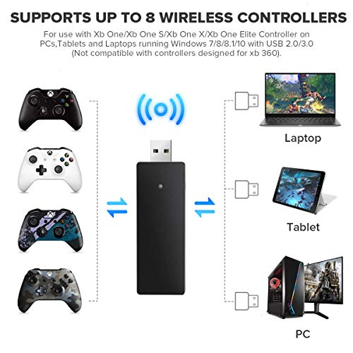 VOYEE Wireless Adapter Replacement for Xbox One Controller, Upgraded Receiver Compatible with Windows 10, 8.1, 8, 7/PC [Xbox_one]