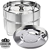 Cookeon Stackable Insert Pans with Sling - Instant Pot Accessories for 6, 8 qt - Pressure Cooker Food Steamer - Pot in Pot Baking, Casseroles, Lasagna - Interchangeable Lid - Recipe Book