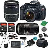 Canon EOS Rebel T5 Camera with 18-55mm IS Lens + Tamron 70-300mm AF + 2pcs 16GB Memory + Camera Case + Memory Card Reader + Professional Tripod + 6pc ZeeTech Starter Set