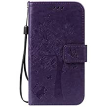 Moto G 2nd Gen Case, Lwaisy [Wrist Strap] [Kickstand] Premium Emboss Cat Tree Butterfly PU Leather Wallet Flip Protective Case Cover with Card Slots for Motorola Moto G 2nd Generation - Purple