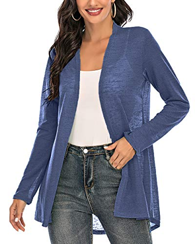 CIZITZZ Womens Casual Long Sleeve Open Front Cardigan Sweater Drape Lightweight Duster High Low Hem,Blue,M