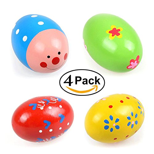 4 Wooden Percussion Musical Egg Maracas Egg Shakers