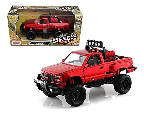 New 1:24 W/B MOTOR MAX OFF ROAD COLLECTION - RED 1992 GMC SIERRA GT PICKUP Diecast Model Car By MOTOR MAX (Sierra Model)