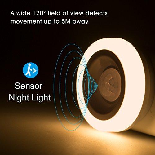 DORESshop Motion Sensor Night Light, Plug-in LED PIR Sensor Nightlight, Soft White 3000K, Auto on/off Wireless Wall Light for Bedroom, Hallway, Step, and Stairs, Energy Efficient, 4Pack …