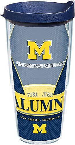 395752696d2 Tervis 1223713 Michigan Wolverines Alumni Tumbler with Wrap and Navy Lid  24oz, Clear