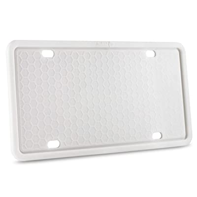 Indeed BUY License Plate Frame - Silicone License Plate Frame with Anti-Impact, Waterproof, Shockproof for Automotive License Plate-White (White): Automotive