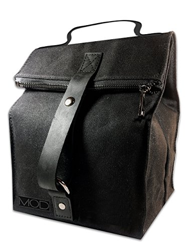Deluxe Black Insulated Lunch Bag w Durable Zipper Closure...