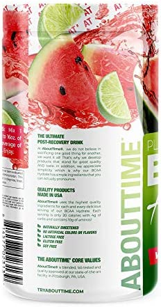 About Time Plant Based BCAA Hydrate with L-Glutamine Electrolytes Non-GMO, Gluten Free, Monk Fruit Extract – Watermelon Lime, 20 Servings