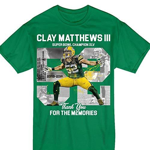 Green Bay Pride Clay-Matthews-III Thank You Football 52 - 52 Matthews Green Clay