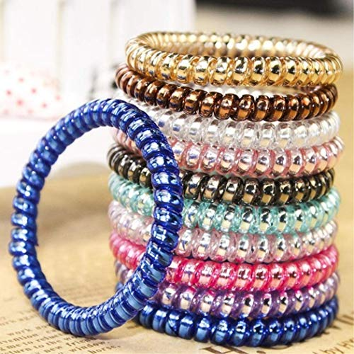 MarshLing Elastic Colorful Telephone Wire Cord Hair Band Ties Band Rope Bobbles Women Girls Headwear Hair Accessories Mixed Color Perfect Quality Multicolor 20PCS