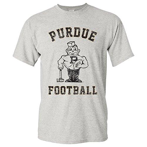 Purdue Boilermakers Vintage Purdue Pete Football Arch T-Shirt - X-Large - Ash Grey
