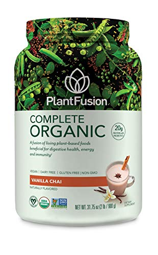 PlantFusion Complete Organic Plant Based Protein & Fermented Foods Powder, USDA Organic, Vegan, Gluten Free, Packing May Vary, Vanilla, 2 LB