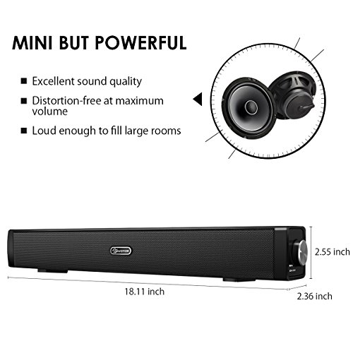 EIVOTOR 18'' USB Powered Mini Soundbar Speaker for Computer Desktop Laptop PC, Black by EIVOTOR (Image #3)